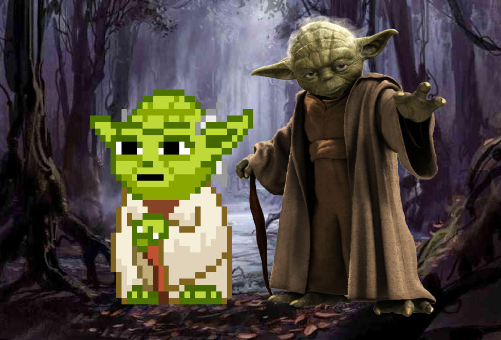 Yoda pixelized and high definition